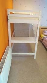 Bunk bed with desk and mattress hardly used.