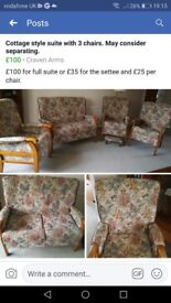 Cottage suite - two seater settee and three chairs. May consider selling separately.