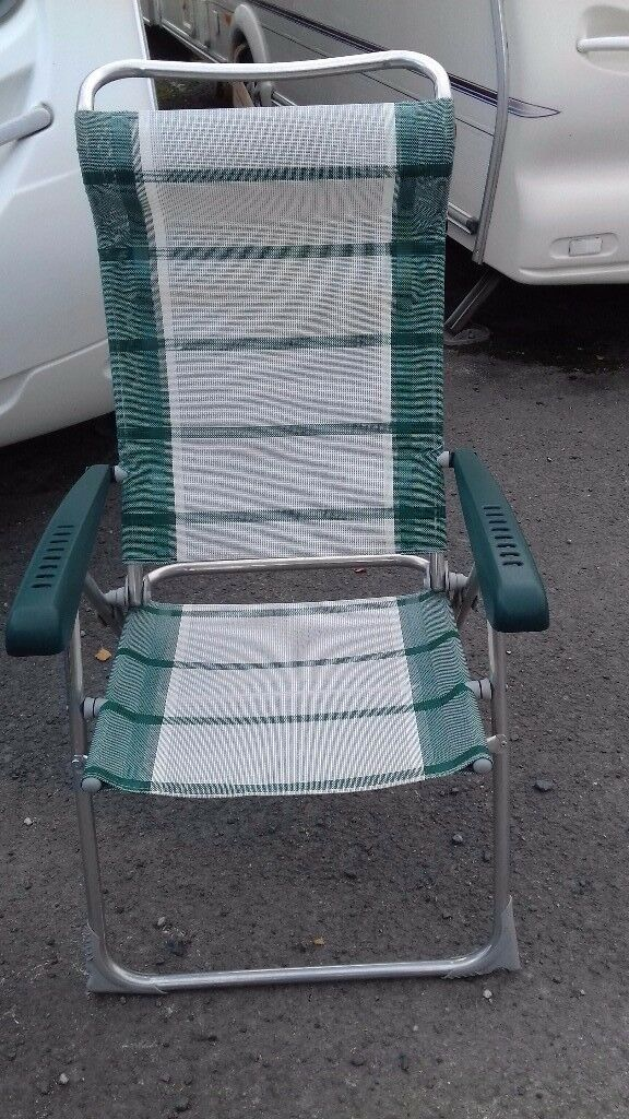 2 green and white striped folding camping chairs good condition