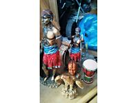 African Masai and English statue