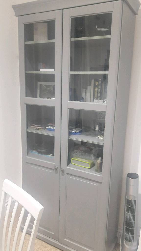 Ikea Liatorp Bookcase With Glass Doors Gray In