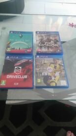 4 ps4 gamesin great condition hardly used