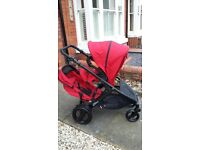 Britax B-Dual double pushchair chilli pepper two way with matching car seat