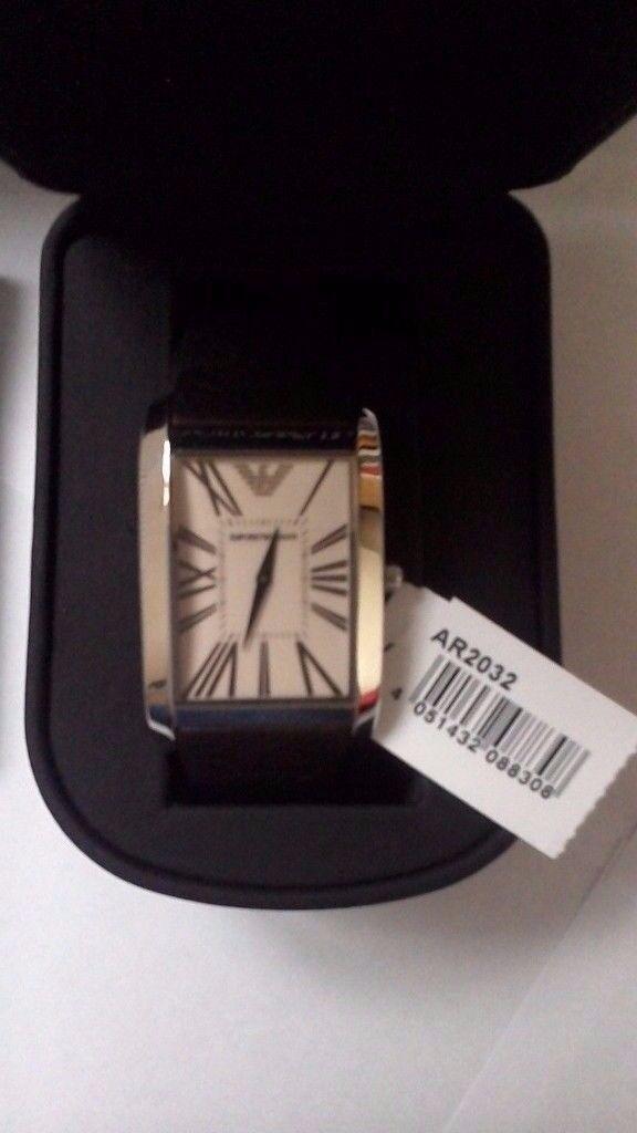 * NEW *Emporio Armani Mens Watch AR2032 Brown Leather Cream Dial Stylish Steel