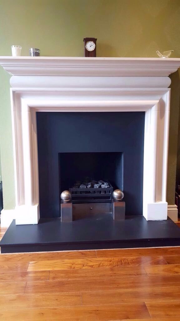Fireplace Design slate fireplace : Limestone Fireplace with Slate Hearth and Insert | in Moira ...