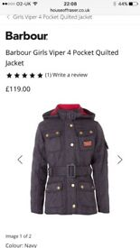 Authentic girls Barbour jacket