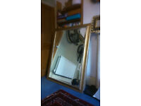 Large antique gold effect mirror