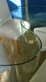 DINING ROOM TABLE GLASS OVAL 150CM X 100CM WIDE- 4 CHAIRS OPTIONAL
