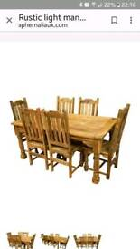 Rustic farmhouse 8ft dark mango extending table and 6 chairs