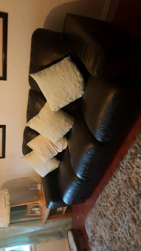 SOLD 3 + 2 Black Leather Sofas (Settees) (Couches)