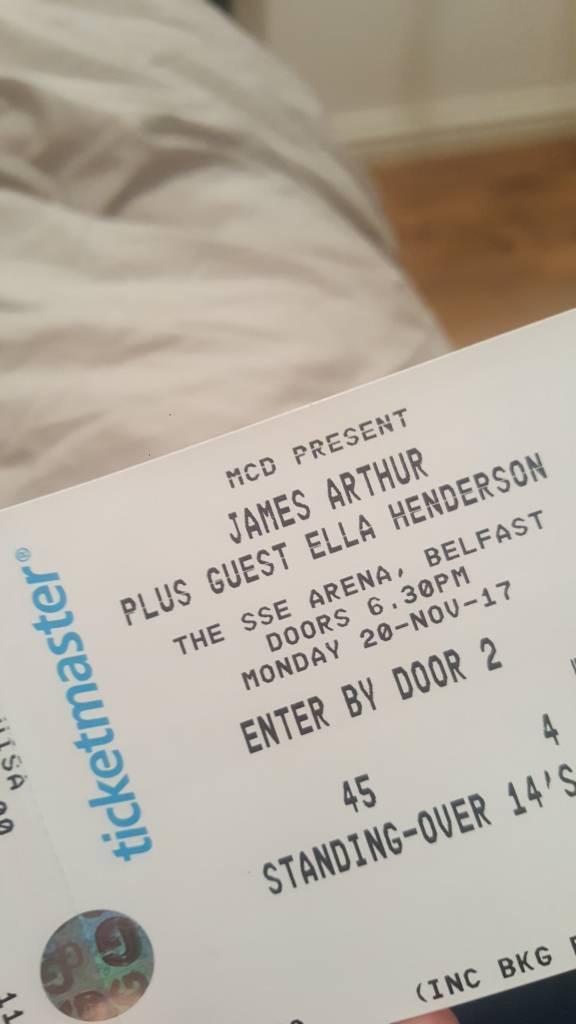 James Arthur tickets x 2 and titanic premier inn room