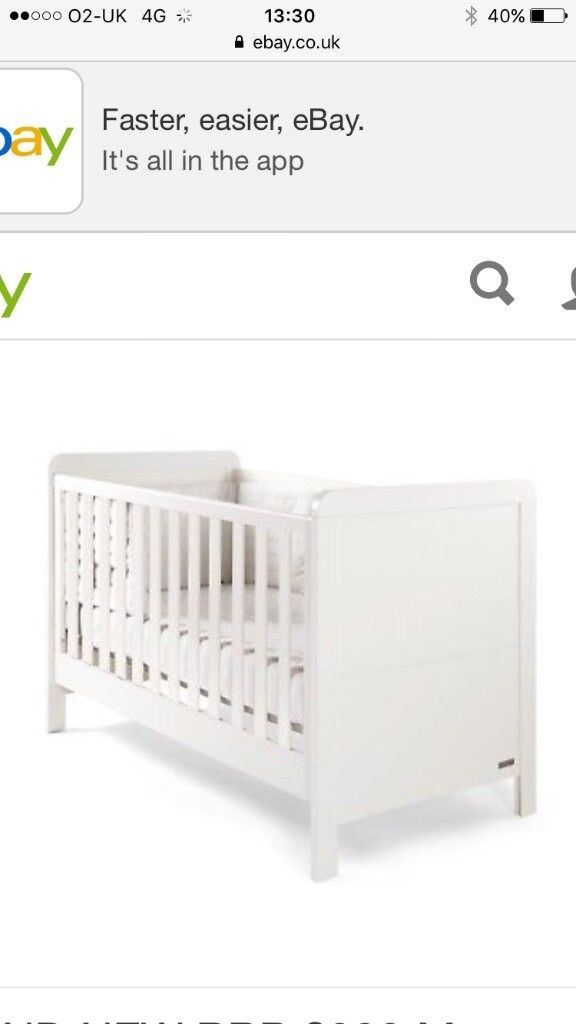 Mamas And Papas Ivory Rialto Cotbed Plus Mattress In Winsford