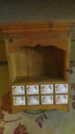 Pine Shelf with china drawers