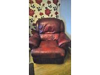 Leather Reclining Armchair.