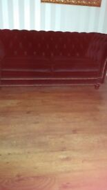 Beautiful designer black velvet high back chesterfield three seater setee. Really good condition