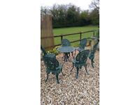 metal garden table and six chairs