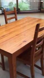 Ikea solid wood table 4 chairs