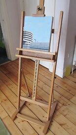 Easel, new artist's adjustable easel, made of wood