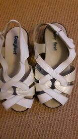 Cosy Feet size 4 Sandals - 2 pairs ream and white