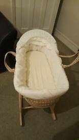 Moses basket & stand & bedding
