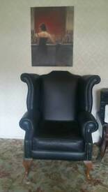 Black leather Queen Ann Winged back chair
