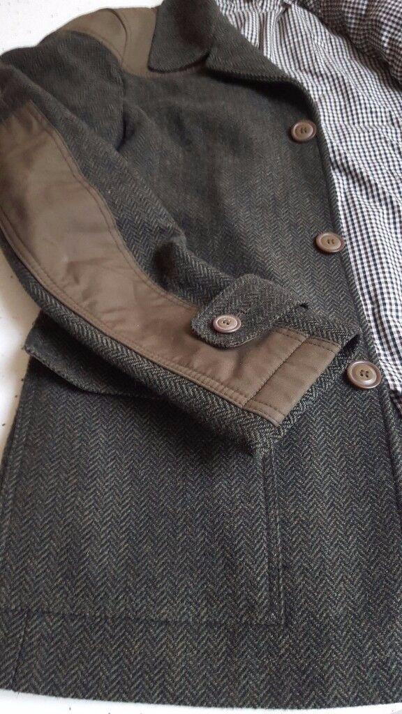 Designer Men's Jacket, gorgeous wool herringbone riding style jacket, size, men's small