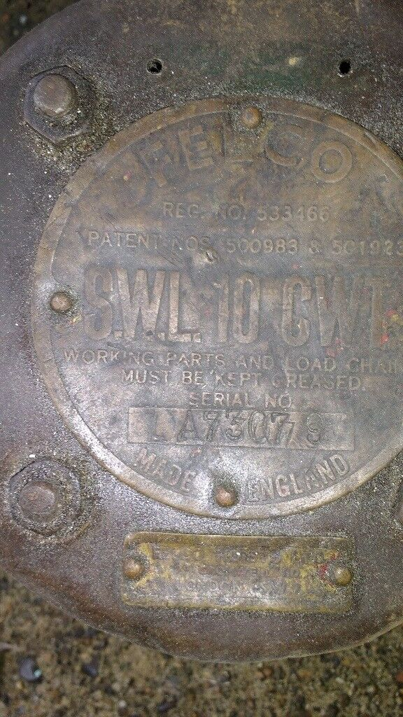 Antique vintage FELCO block & tackle winch hoist pulley SWL 10 CWT