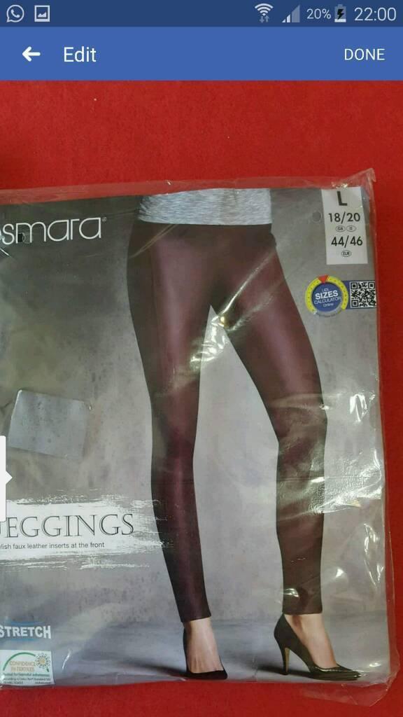 2 Ladies leggings stylish faux leather size large 18\20 - 44\46 medium 14\16 - 40\42