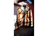RAF style jacket tan leather sheep skin lining very warm 44 inch chest
