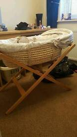 Mammas and pappas moses basket and stand.