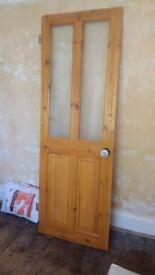 Victorian style 4-panel solid pine internal door - upper panels opaque glass.