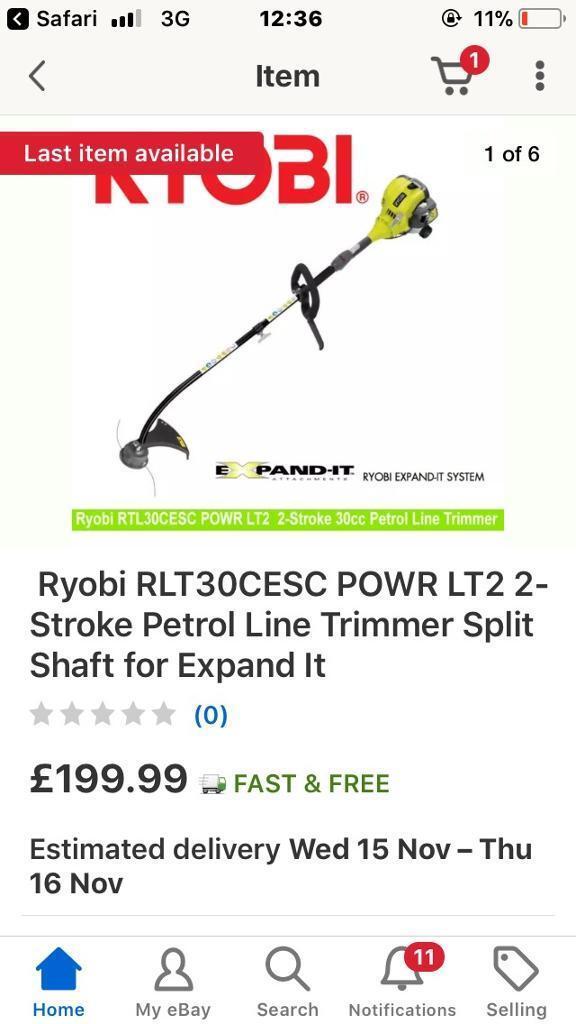 Ryobi powr petrol garden trimmer split shaft like new bargain £50