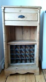 Solid pine wood wine rack and drinks cabinet