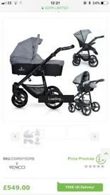 Venicci travel system 3 in 1 grey with black frame
