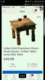 2 x Sheesham Solid Indian wood Side Coffee Tables
