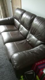 3 seater, chocolate brown leather sofa