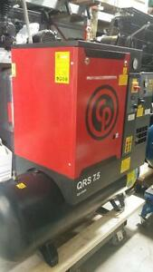 Demo model 7.5hp 230v 3ph screw air compressor on tank
