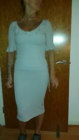 Pale Grey matching skirt and top suit from paris size 8/10