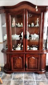 Stylish unusual large part glazed mahogany display cabinet with attractive curved glass side panels