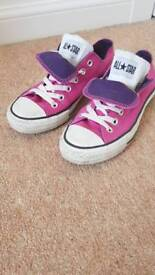 Pink and purle double tongue converse