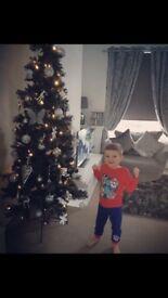 Black and grey Christmas tree pre lit