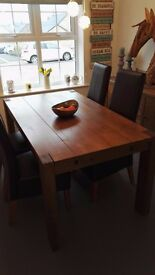 NEXT Dining Table with 2 extenders, 4 Leather Chairs and Matching Sideboard