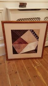 large burr walnut framed abstract painting