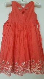 Beautiful coral cotton dress for 5 year old.