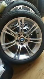 "Bmw m sport alloys 18"" nearly new tyres 4 set"