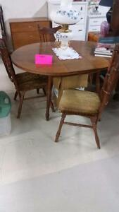 Vintage Solid Wood Dining Table with butterfly leaf and 3 chairs