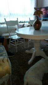 Large solid wood dining table and 4 chairs