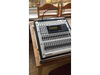 Behringer DDX3216 digital mixing desk with flightcase