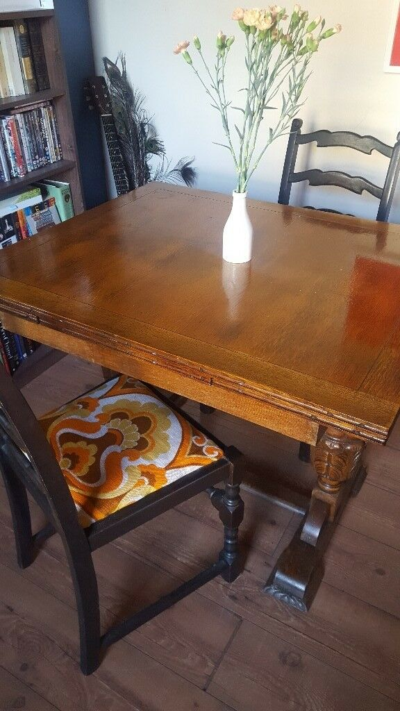 Vintage Extending Wooden Dining Table And 4 Chairs