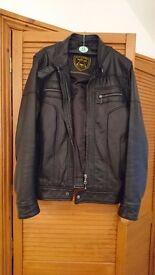 Mens Black Leather Jacket XS